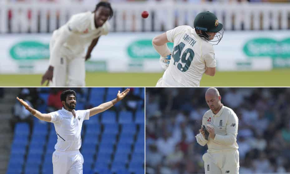 Jofra Archer bowls to Steve Smith, Jasprit Bumrah celebrates after taking a wicket for India and Jack Leach cleans his glasses.