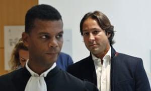 Hassa bint Salman's bodyguard Rani Saidi, right, in court with his lawyer Yassine Bouzrou, left.