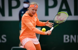 Kiki Bertens of the Netherlands in action.