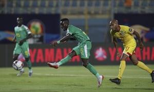 Idrissa Gueye scores the winner for Senegal against Benin.