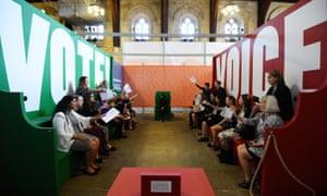 Visitors take part in a 'parliamentary debate.'