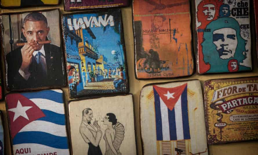 Fridge magnets, including one of Barack Obama, at a market in Havana ahead of the US president's visit.