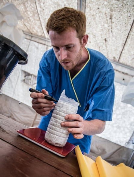 Oliver Johnson at the Connaught hospital, Freetown, during the Ebola crisis