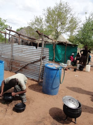 There is striking poverty among bushmen in Letlhakane, who live in mud huts and shacks with few amenities.