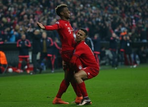 Kingsley Coman, left,  celebrates with fellow goal-scorer Thiago.
