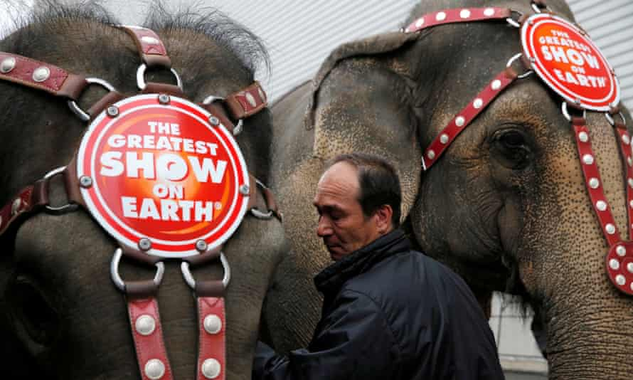 Senior elephant handler Alex Petrov interacts with the elephants after they appeared in their final show in Wilkes-Barre, Pennsylvania.