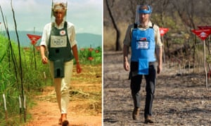 Princess Diana walking in one of the safety corridors of the landmine fields of Huambo in 1997 and Prince Harry in Dirico last week.