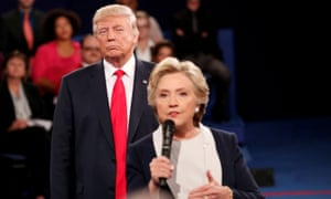 'It's a pressure cooker all the time,' said Clinton, shown here speaking during a 2016 presidential debate with her opponent, Donald Trump, looming behind her