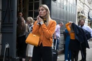 Street style at London Fashion Week. September 2018.