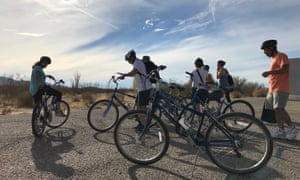 Riders at the start of the 20-mile Big Wheel Tours bicycle tour that takes in a part of the San Andreas Fault, Palm Desert, California, USA.