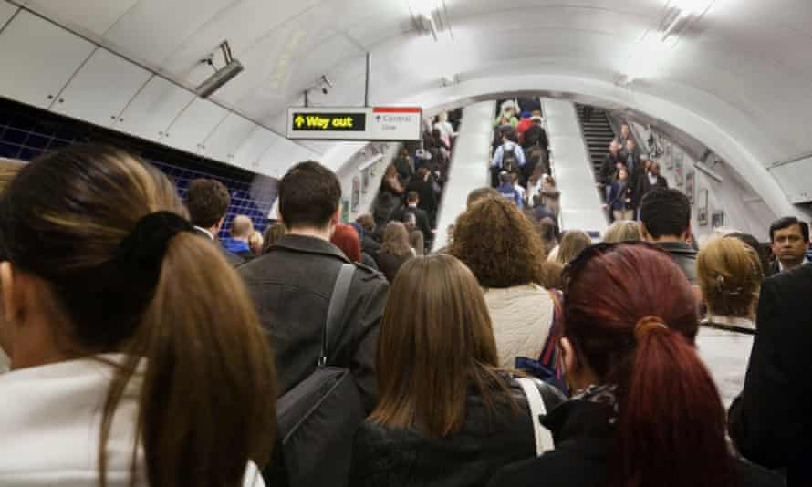 Crowds of commuters in the morning rush hour