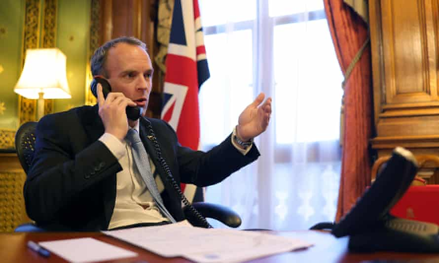 Dominic Raab on the phone.