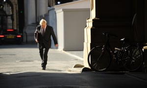 Boris Johnson returning to Downing Street after the today's cabinet meeting in the Foreign Office.