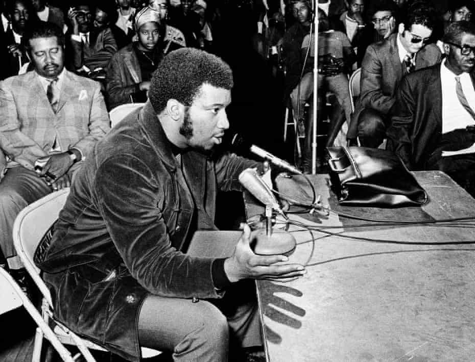 Fred Hampton testifies at a meeting on the death of two men in 1969