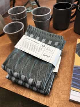 A £15 tea towel for sale at Bonds, Coal Drops Yard.