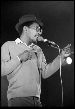 Johnson joined the Black Panthers as a schoolboy …pictured performing at the Lyceum, London, in 1984.