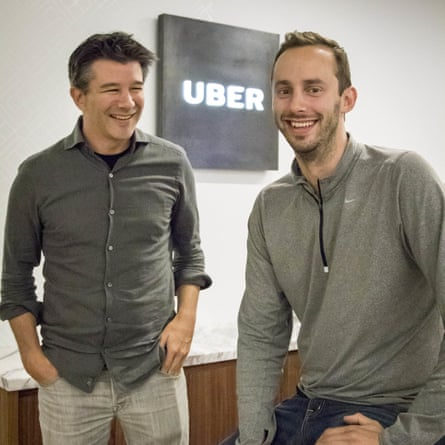 Travis Kalanick and Anthony Levandowski at Uber headquarters in August, 2016. Google is accusing Levandowski of stealing trade secrets and taking them to Uber.
