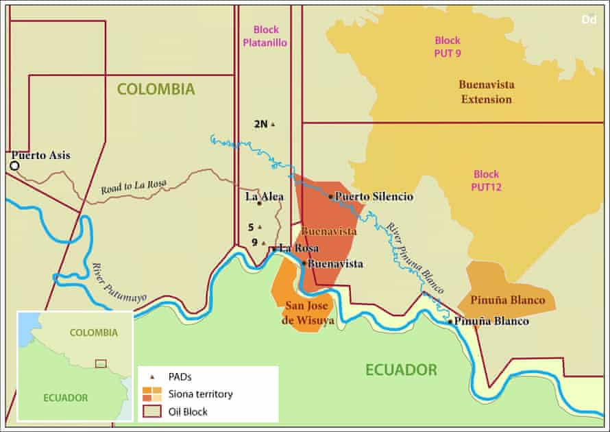 A map showing oil concessions and tribal land in Colombia