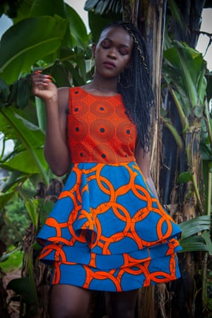 Claire Okere, a fashion designer from Kibera, models her own design.