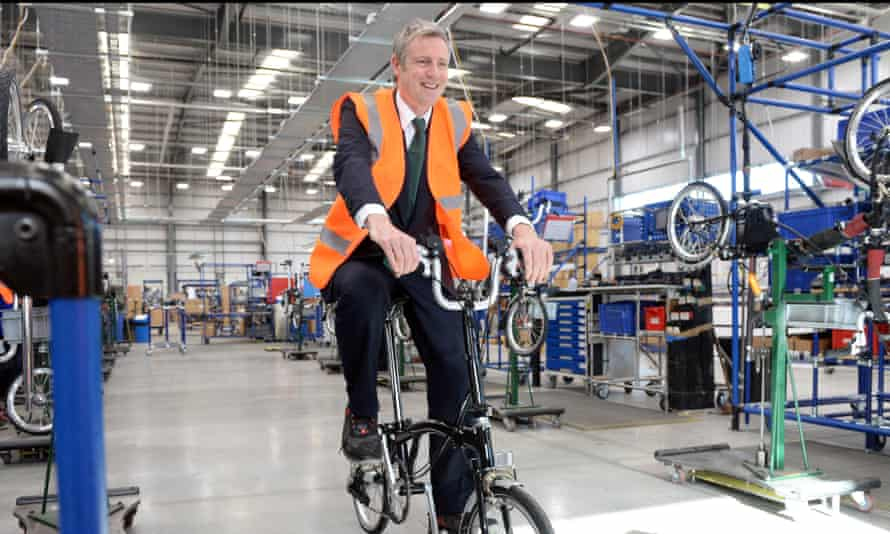 Zac Goldsmith Campaigning ar the Brompton bikes factory in west London.