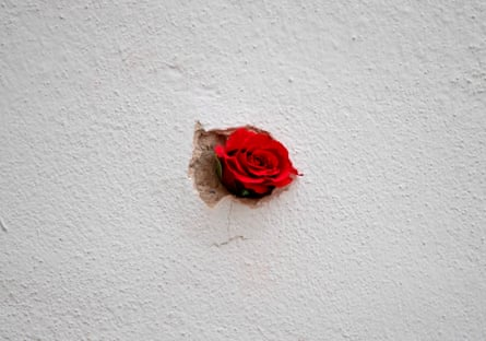 A red rose is stuck in a bullet hole in a restaurant wall at the site of the terrorist attack in Vienna, Austria.