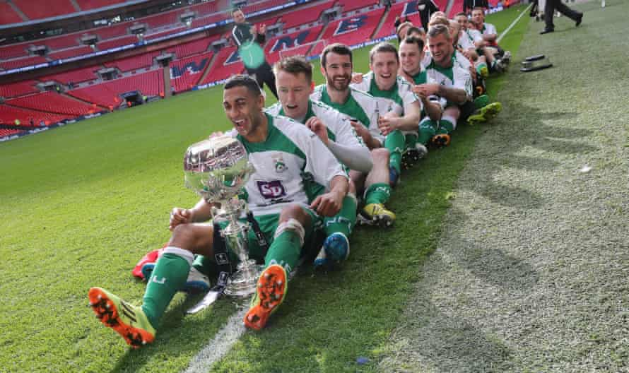 North Ferriby players celebrate winning the FA Trophy in 2015.
