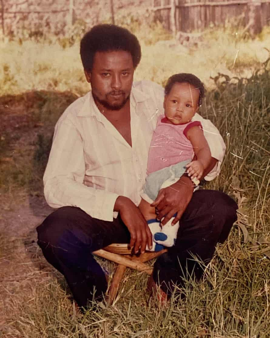Hashi Mohamed as a baby with his father in Nairobi, c 1984.