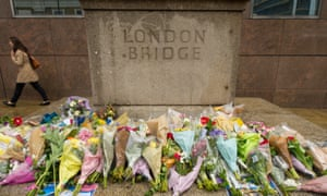 Flowers left on London Bridge following the terrorist attack in which eight people were killed.