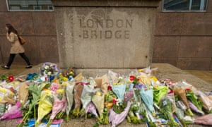 Flowers left on London Bridge for the victims of the terrorist attack