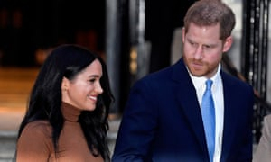 Prince Harry and Meghan, Duchess of Sussex, leave Canada House in London on 7 January.