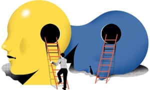 Illustration of step ladders leading into yellow and blue heads