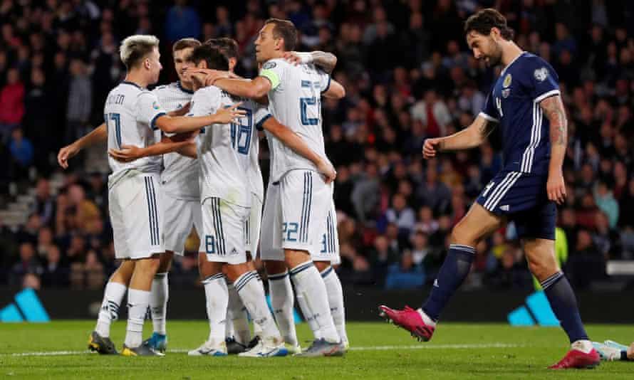 Russia celebrate the winning goal