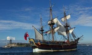 A replica of Captain Cook's ship HMS Endeavour sails into Sydney Harbour