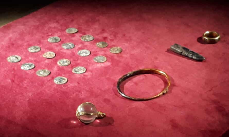Coins and jewellery from the hoard found by George Powell and Layton Davies.