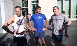Andrew Leigh, Angus Taylor and Alan Tudge after the race on Tuesday.
