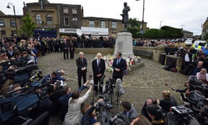 John Bercow, Jeremy Corbyn and David Cameron address the media after laying flowers in memory of Labour MP Jo Cox, in Birstall.