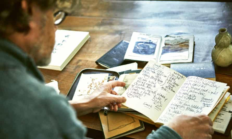 Nigel Slater with his recipe notebooks.