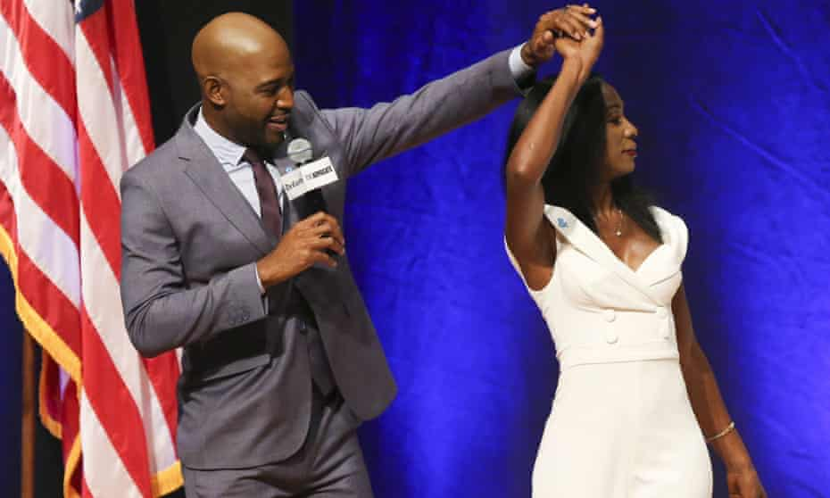 Angelica Ross, right, with Karamo Brown on Friday night.