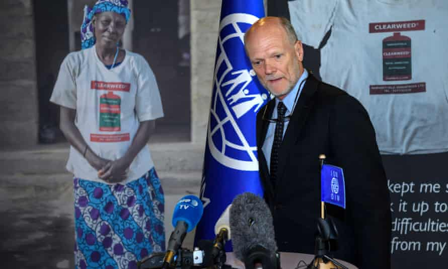 Ken Isaacs speaks a press conference after being eliminated from the election ballot for the new president of the International Organization for Migration (IOM) in Geneva on Thursday.