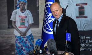 Ken Isaacs speaks a press conference after being eliminated from the vote for the new president of the IOM in Geneva, Switzerland, on 28 June 2018.