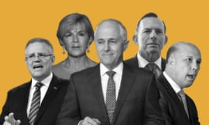 Scott Morrison, Julie Bishop, Malcolm Turnbull, Tony Abbott, Peter Dutton.