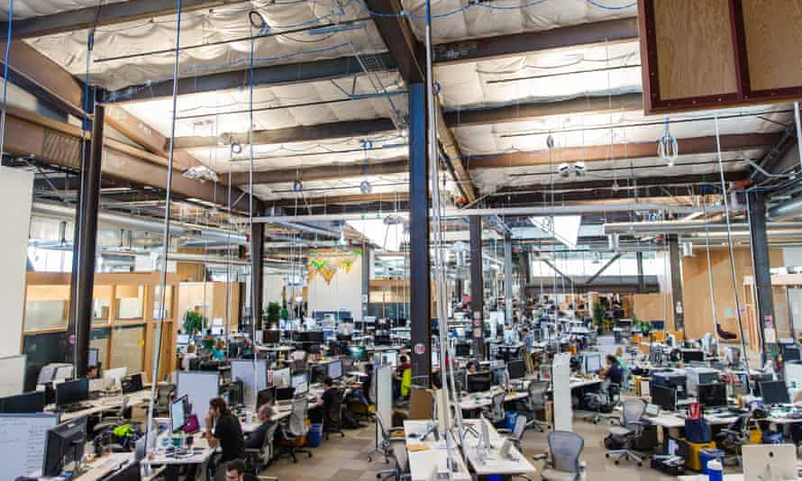Men united: one of the male-dominated offices on Facebook's campus in California