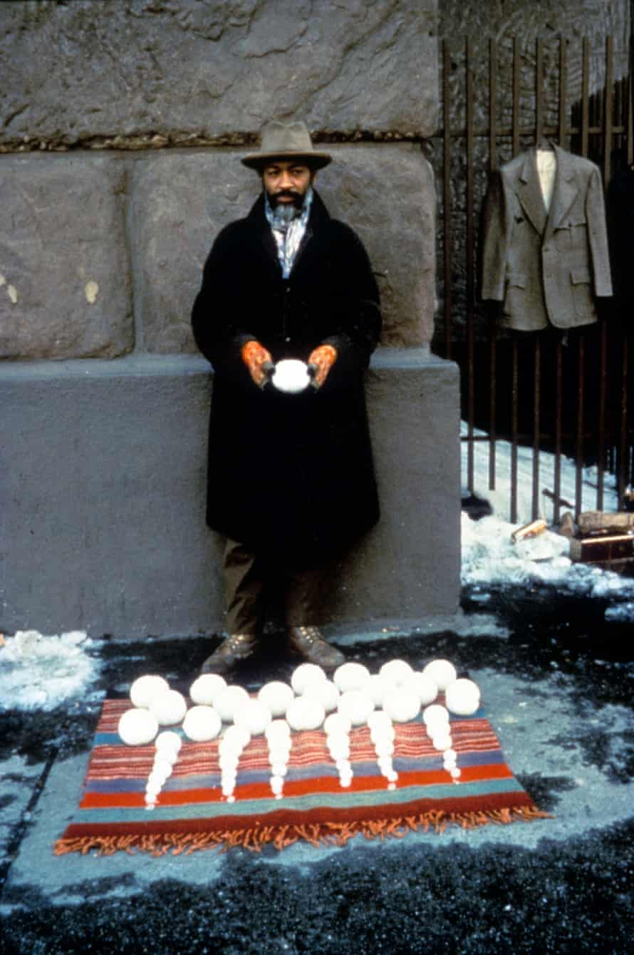 David Hammons, 'down and out and trying to sell an exquisite range of snowballs' in New York in Bliz-aard Ball Sale, 1983.