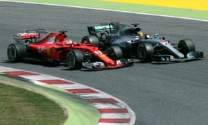 Mercedes' Lewis Hamilton (right) tries to overtake Ferrari's Sebastian Vettel in last year's Spanish Grand Prix, the sort of move that should be easier when new regulations are brought in.