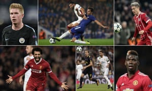 Manchester City's Kevin De Bruyne, Maxime Gonalons of Roma and Cesc Fàbregas of Chelsea, Robert Lewandowski of Bayern Munich,  Manchester United's Paul Pogba, Tottenham's Harry Kane and Real Madrid's Sergio Ramos, and Liverpool's Mohamed Salah.