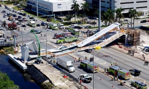 View of the main span of the FIU-Sweetwater University City Bridge which collapsed five days after been installed.