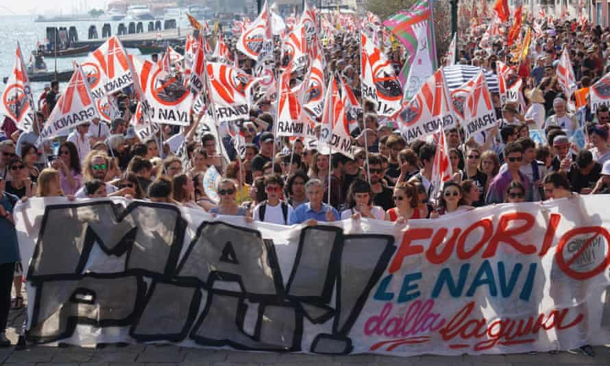 A demonstration against cruise ships being allowed in the Lagoon of Venice.