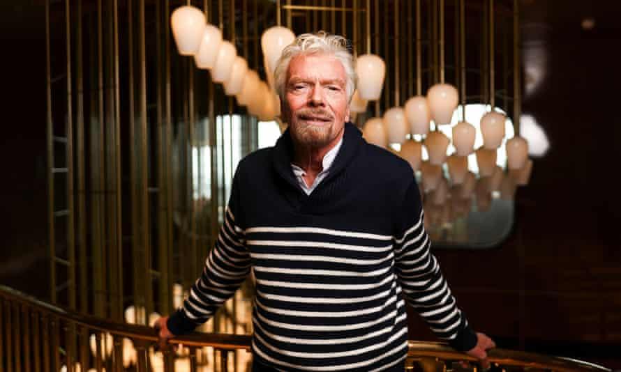 Sir Richard Branson onboard his liner