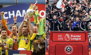 Promotion celebrations last season for Norwich, who are bottom of the Premier League, and Sheffield United, who are eighth.