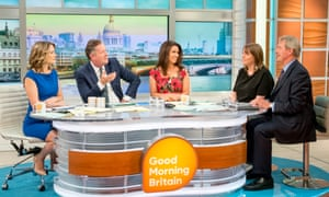 Behind the scenes of Good Morning Britain, with presenters Charlotte Hawkins, Piers Morgan and Susanna Reid, and guests Jess Phillips and Owen Paterson.